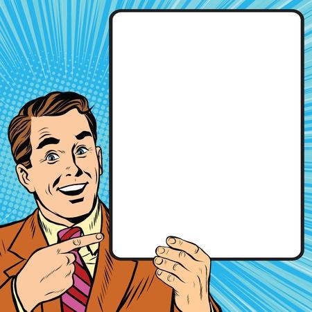 Retro Mann mit einem Plakat Kunst Retro-Vektor. Erwachsene Promoter Ankündigung Mann. Geschäftsmann wirbt