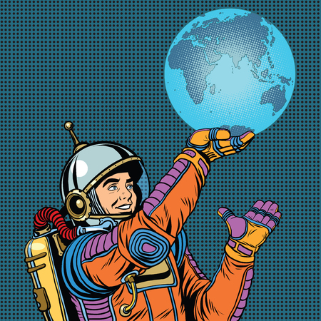pioneer: Retro astronaut is holding the planet Earth on hand pop art retro vector. Caring for the planet. Earth day and the day of environmental protection Illustration
