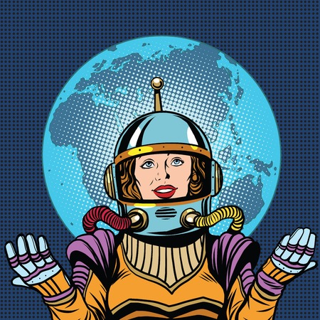 humanity: Woman astronaut a symbol of life on planet Earth pop art retro vector. Humanity and the cosmos. Earth day and ecology