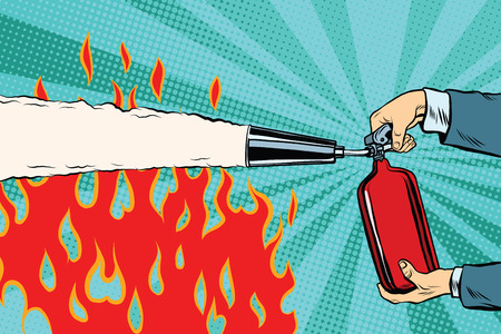 Extinguish the flames with a fire extinguisher pop art retro vector. Red fire Illustration