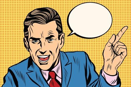 spreker zakenman wijzende vinger pop art retro vector. Wijsvinger. promo mensen Stock Illustratie