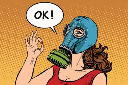 Young woman in gas mask okay gesture pop art retro vector. War gas attack 일러스트
