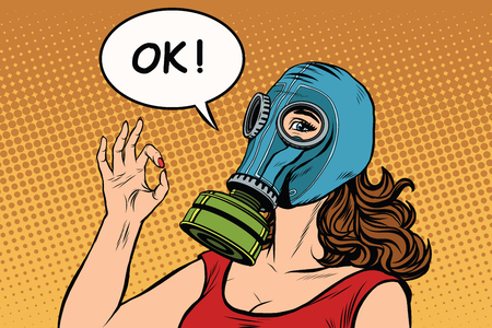 Young woman in gas mask okay gesture pop art retro vector. War gas attack Vectores