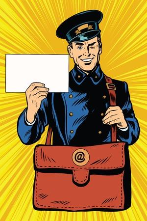 Fröhlich Postbote Pop-Art Retro-Vektor. Freundlich Postbote in der blauen Uniform mit Tasche und Buchstaben