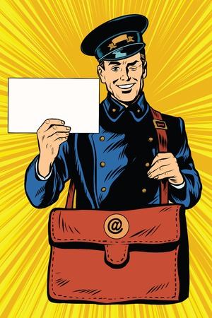 Cheerful postman pop art retro vector. Friendly postman in blue uniform with bag and letters