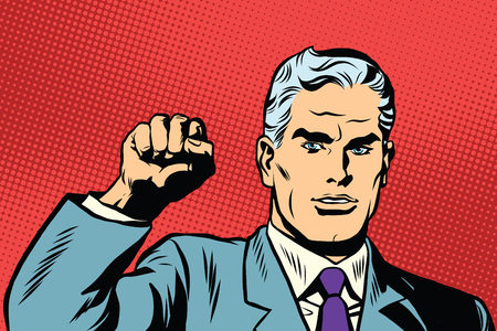 activist: Politician protest solidarity gesture up fist activist pop art retro vector. They will not pass the gesture of the Communist international Illustration