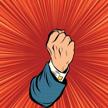 force: Retro fist force concept pop art retro vector