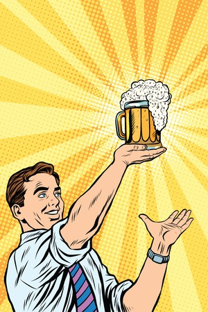 Retro man and mug of beer pop art vector. Oktoberfest and St. Patrick day. Beer festival Illustration
