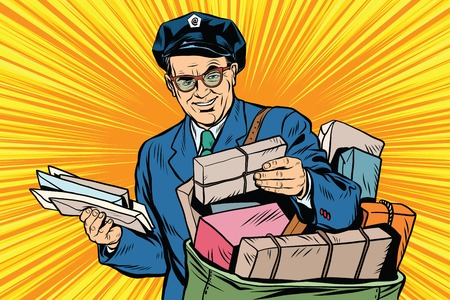 Cheerful oldster postman pop art retro vector. Friendly postman in blue uniform with bag and letters 일러스트
