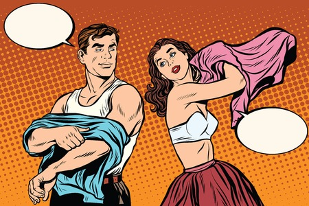 Morning man and woman dress up. Underwear pop art retro vector. Husband and wife get out of bed. Illustration