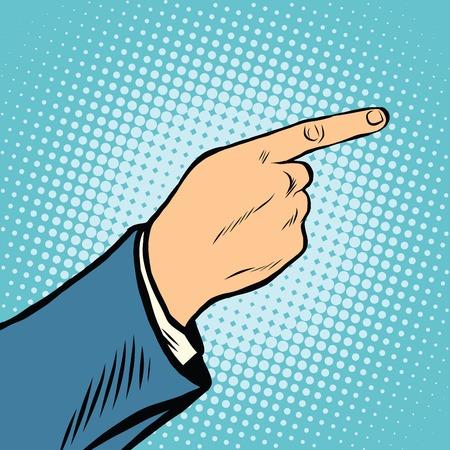gesture Index finger direction pop art retro vector