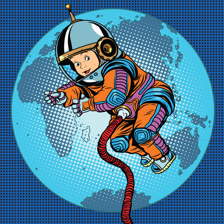 umbilical cord: Astronaut baby Earth space. Earth day, ecology and life on the planet pop art retro vector Illustration