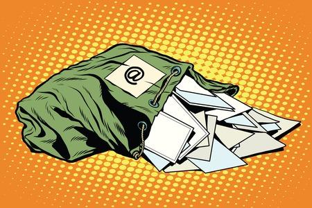 Retro-Tasche des Postboten mit Briefen Pop-Art-Vektor. Deutsche Post, E-Mail