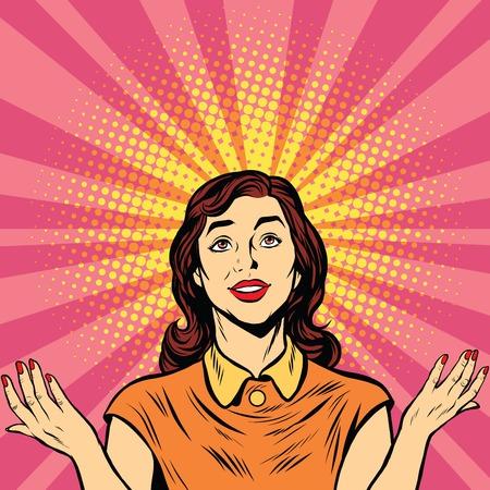 Woman prayer joy religion pop art retro vector Illustration
