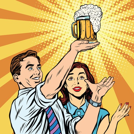 Triumph beer festival bar pub man and woman pop art retro vector. Mug of beer on the podium