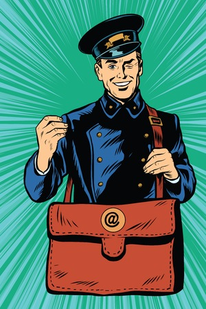 mailman: Cheerful postman pop art retro vector. Friendly postman in blue uniform with bag