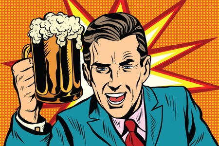 Emotional vintage man with beer pop art retro vector. Fan in bar. Burst background 일러스트