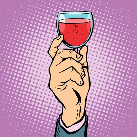 Toast glass red wine pop art retro vector. The triumph holiday party