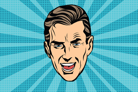 orator: retro head man pop art poster vector. Screaming man Illustration