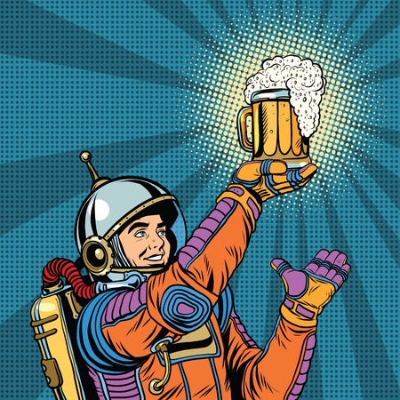 retro astronaut and a mug of beer pop art retro vector