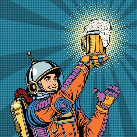 retro astronaut and a mug of beer pop art retro vector