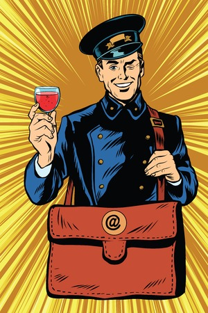 Smiling retro postman with a greeting glass of wine pop art vector. Birthday greetings message