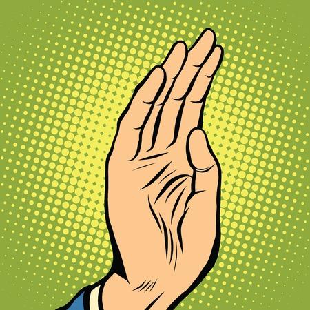 hi five: Hand palm pop art pop art retro vector Illustration