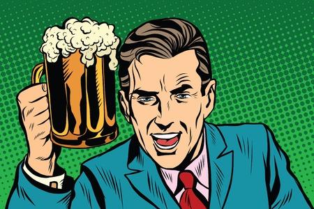 Emotional vintage man with beer pop art retro vector. Fan in bar