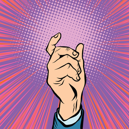 male hand: Gesture male hand hold pop art retro vector Illustration