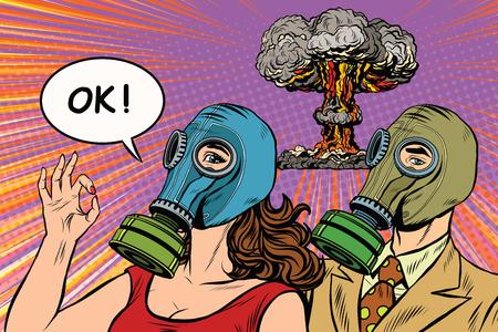 La guerra nuclear del arte pop poster retro del vector militar. El hombre y la mujer en máscaras de gas. El gesto de OK
