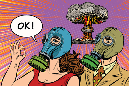 gas man: Nuclear war retro pop art poster military vector. Man and woman in gas masks. The OK gesture