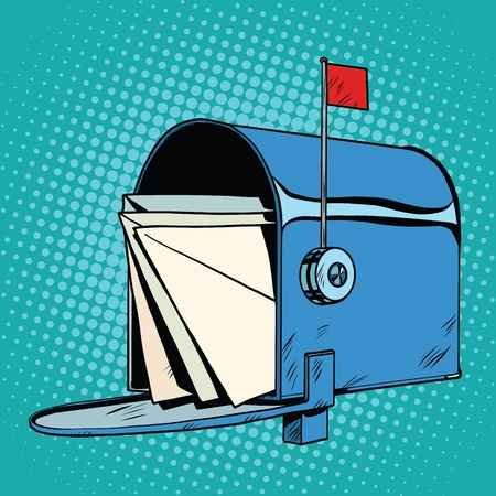 await: Retro letter box realistic drawing, pop art retro vector. The Postal Service. Express delivery of letters