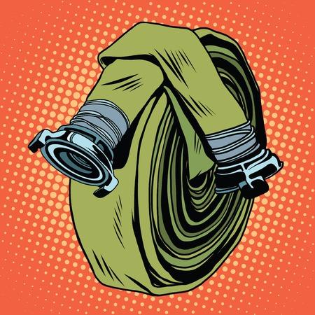 Retro groene brandslang pop art vector. De strijd tegen het vuur. realistische illustratie Stock Illustratie