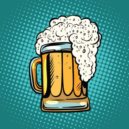 espumosa taza de cerveza pop art retro. bebida alcohólica en un bar. Ilustración realista de la cerveza Ilustración de vector