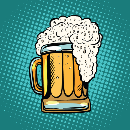Schiuma tazza di birra pop art retro vettore. Bevanda alcolica in un pub. Illustrazione realistica della birra Vettoriali