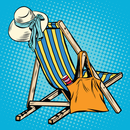 chaise longue: deck chair with beach things women pop art retro vector. Hat and handbag