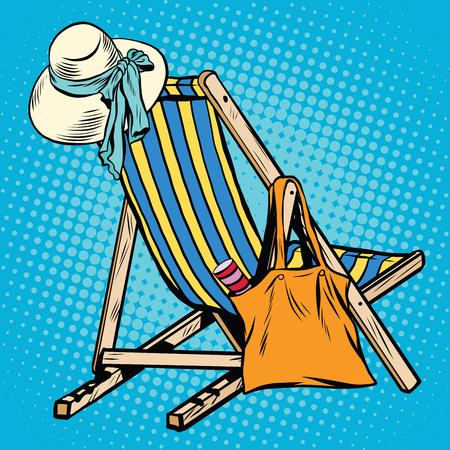 sedia a sdraio con cose spiaggia donne pop art retrò vettore. Cappello e borsa
