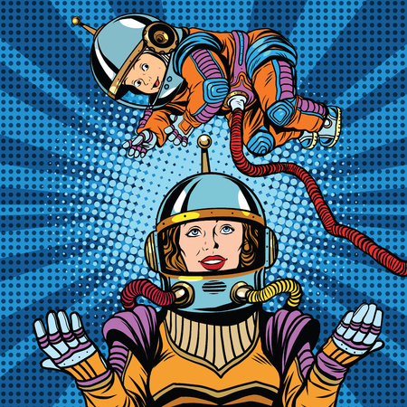 midwifery: Space astronaut mother and newborn baby pop art retro vector. Mother day and international womens day. Childhood and motherhood Illustration