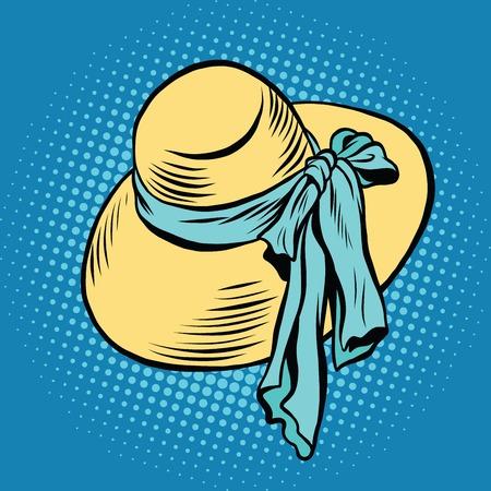 beachwear: Straw sun hat with blue ribbon, beachwear pop art retro vector. Womens hat