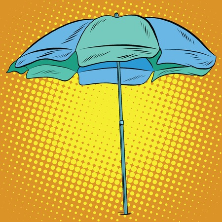 sun protection: Beach umbrella blue green pop art retro vector. Sun protection