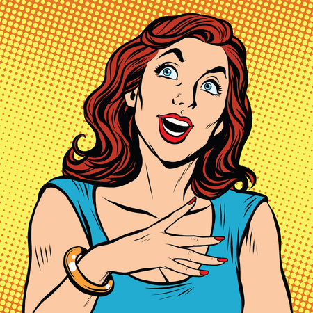 positive thought: Emotional beautiful woman pop art pop art retro vector. Facial expressions and gestures