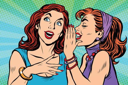 Two girls girlfriends gossiping pop art retro vector. Beautiful women lifestyle Vectores