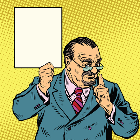 Retro Professor with a beard pop art retro vector. Scientist Professor actively gesturing. poster sign