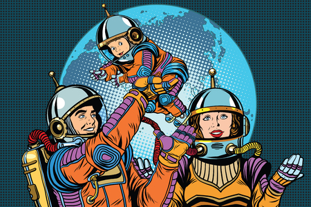 weightless: Retro astronauts family dad mom and child pop art retro vector. The future of humanity. International day of families.