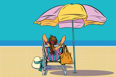 deckchair: Girl in a deckchair on the beach pop art retro vector. The rest of the sea. Travel and tourism