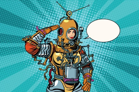 cartoon human: Retro woman salutes astronaut or deep sea diver pop art retro vector. Science fiction and adventure. The woman professional