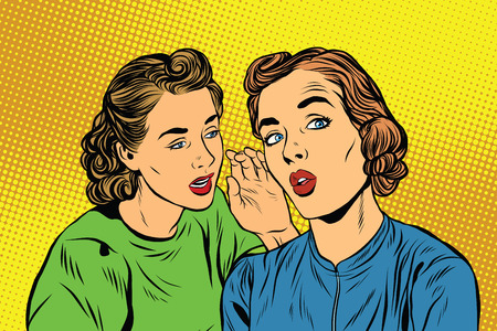 girlfriend: Two retro girlfriends know a secret pop art vector. Rumours, news and gossip. Lifestyle Stock Photo