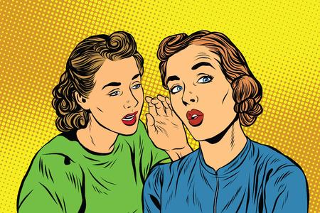 secret love: Two retro girlfriends know a secret pop art vector. Rumours, news and gossip. Lifestyle Stock Photo