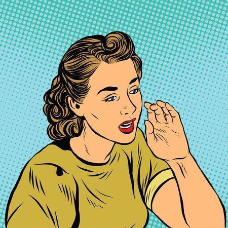 gossiping: Retro girl whispering a secret pop art vector