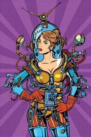 Bella ragazza futuristico in un sexy tuta spaziale pop art retrò vettore. Donna capitano astronauta. La fantascienza eroe femminile